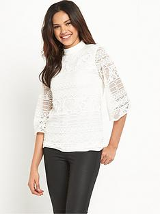 warehouse-high-neck-fluted-sleeve-top