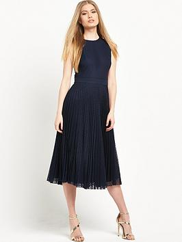 warehouse-pleated-lace-midi-dress