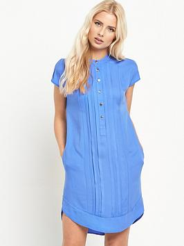warehouse-collarless-pintuck-dress