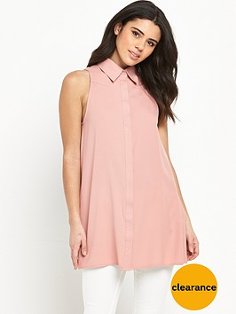 glamorous-sleeveless-shirt-dress