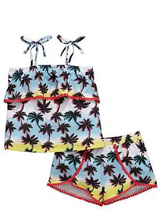 v-by-very-girls-palm-print-ruffle-vest-and-shorts-set
