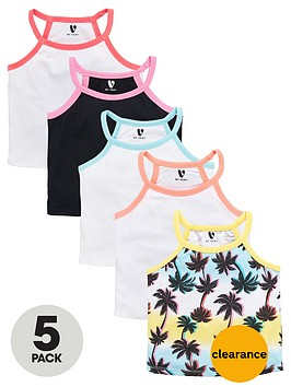 v-by-very-girls-palm-print-ribbed-cropped-vests-5-pack