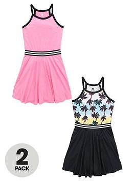 v-by-very-girls-sporty-skater-dresses-in-solid-colour-and-palm-print-2-pack