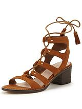 Miss Selfridge Low Block Ghillie Tie Sandal