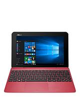 T100HA-FU011T Intel® Atom® X5 2Gb RAM 64Gb SSD 10.1 inch Touchscreen 2-in-1 Laptop with Optional Microsoft Office 365 - Red