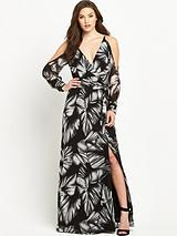 Cold Shoulder Printed V-Neck Maxi Dress