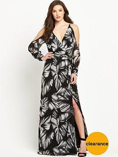 v-by-very-cold-shoulder-printed-v-neck-maxi-dress