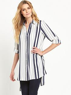 wallis-longlinenbspstripe-side-split-shirt
