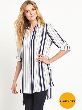 wallis-longlinenbspstripe-side-split-shirt