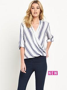 wallis-wallis-stripe-wrap-blouse