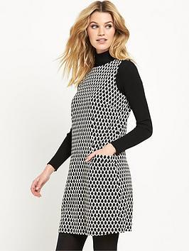 wallis-mono-jacquard-pinny-dress
