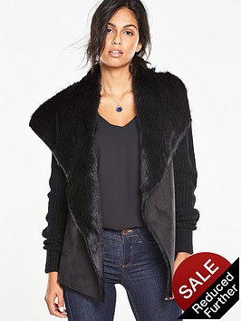 v-by-very-suedette-faux-fur-knitted-cardigannbsp