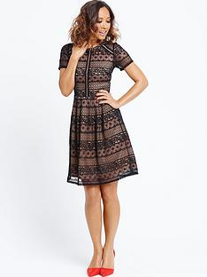 myleene-klass-lace-panel-skater-dress