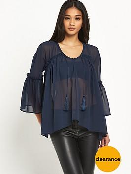 river-island-long-sleeve-sheer-tassel-blouse
