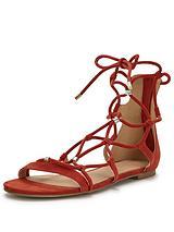 Walnut Lace Up Gold Stud Sandal