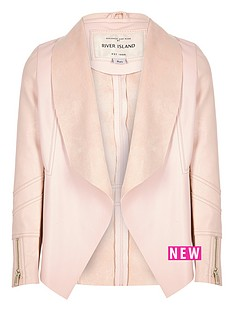 river-island-girls-light-pink-leather-look-draped-jacket