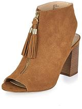 Tassel Zip Block Heeled Sandal