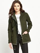 Fringe Eyelet Military Jacket