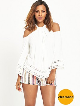 rochelle-humes-lace-trim-flute-sleeve-top