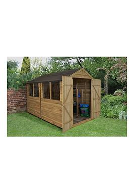 forest-8-x-10ft-double-door-4-window-overlap-pressure-treated-apex-shed-with-windows-with-optional-assembly