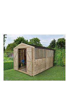 forest-12x8ftnbspapex-overlap-pressure-treated-4-window-double-door-shednbsp