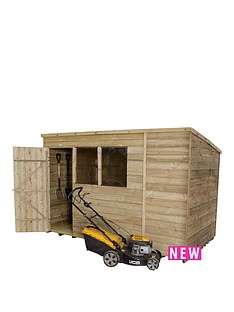forest-10-x-6ft-single-door-2-window-overlap-pressure-treated-pent-shed-with-optional-assembly