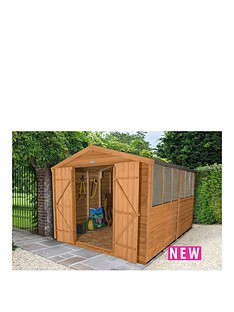 forest-12-x-8ft-double-door-6-window-overlap-dip-treated-apex-shed-with-optional-assembly