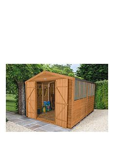forest 12x8ft overlap apex dip treated double door workshop shed