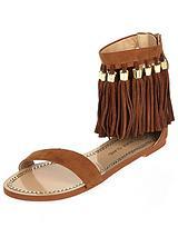 Fringe Ankle Flat Sandal
