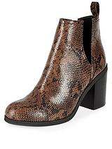 Snake Print Cut Out Heeled Ankle Boot