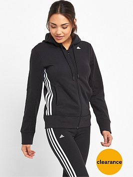adidas-essentials-mid-3-stripes-hooded-top-black