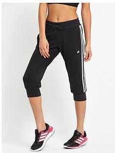 adidas-essentials-3-stripes-three-quarter-pant-black