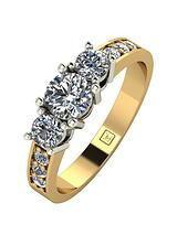 9ct Gold 1 Carat Round Brilliant Trilogy Ring with Stone Set Shoulders