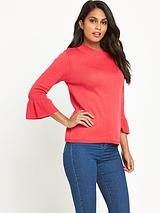 Fluted Cuff Turtle Neck Jumper