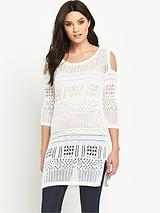 Cold Shoulder Crochet Tunic Top