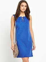 Lace Front Denim Dress
