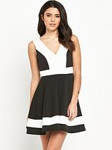 Colourblock Skater Dress