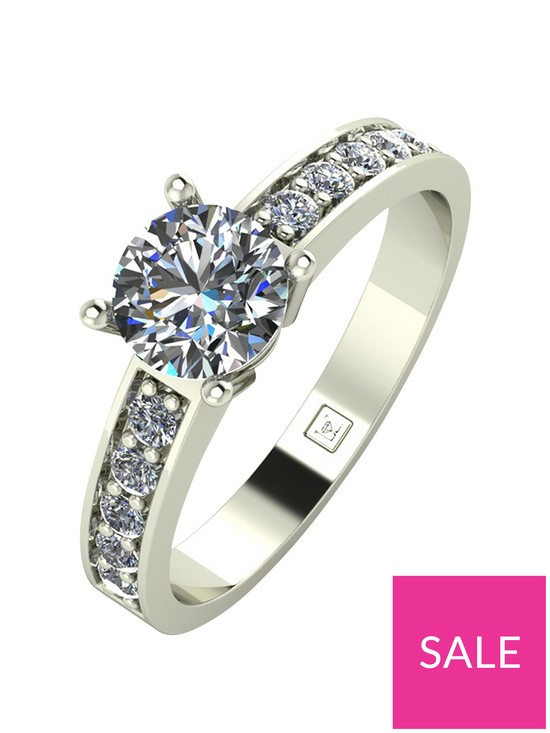 802a7cdea43192 Moissanite Lady Lynsey 9ct Gold 1ct total Round Brilliant Moissanite Solitaire  Ring With Stone Set Shoulders