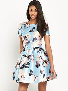 chi-chi-london-rose-print-full-skater-mini-dress