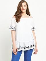 Embroidered Cold Shoulder Top