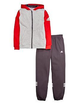 adidas-older-boys-fleece-hojonbsptracksuit-greyred