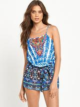 Embellished Printed Beach Playsuit