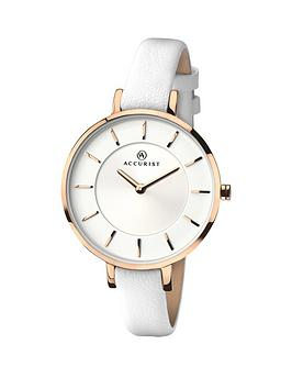 accurist-contemporary-white-strap-ladies-watch