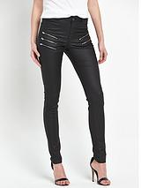 Multi Zip Coated Skinny Jeans