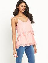 Lace Trim Double Layer Jersey Cami Top