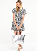 Printed High Neck Fit and Flare Dress