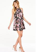 Printed Ruffle Halter Neck Dress