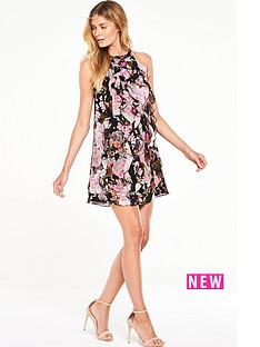 v-by-very-printed-ruffle-halter-neck-dress
