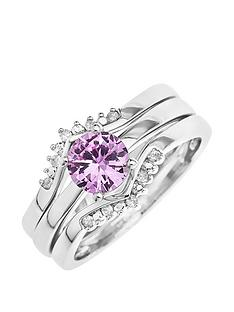 love-gold-9ct-white-gold-created-pink-sapphire-and-8-point-diamond-3-piece-ring-set
