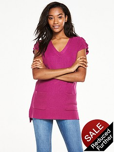 v-by-very-lace-up-shoulder-pocket-front-tunic-top